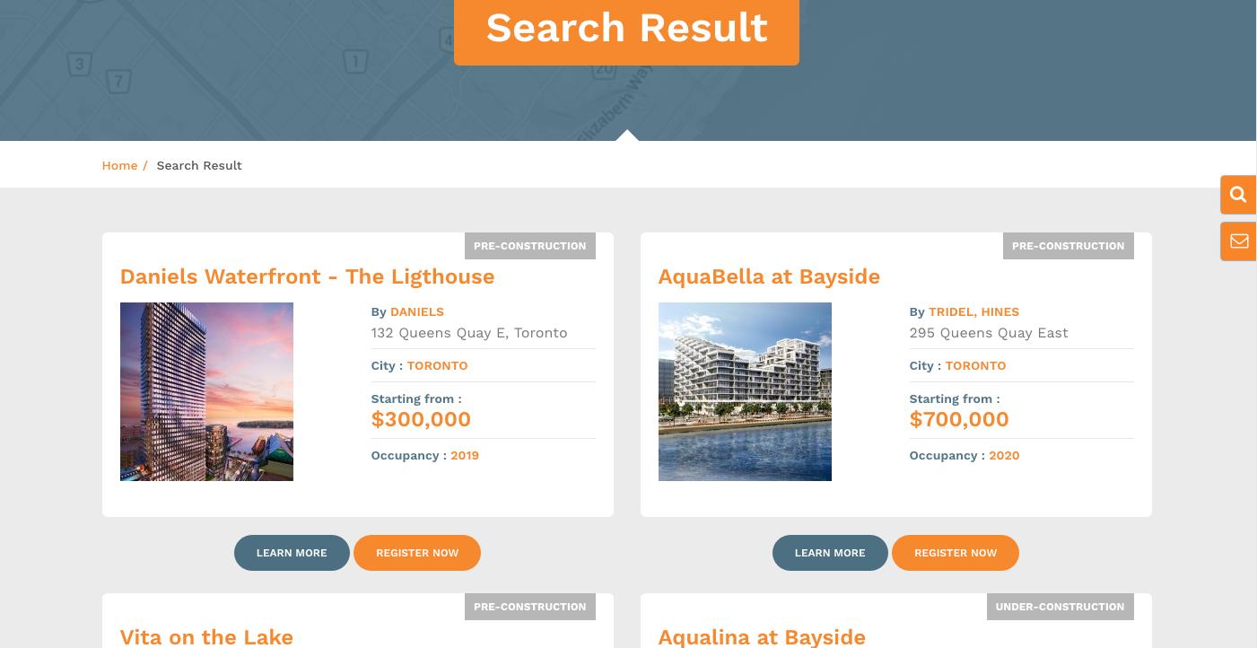 Condo Results Page